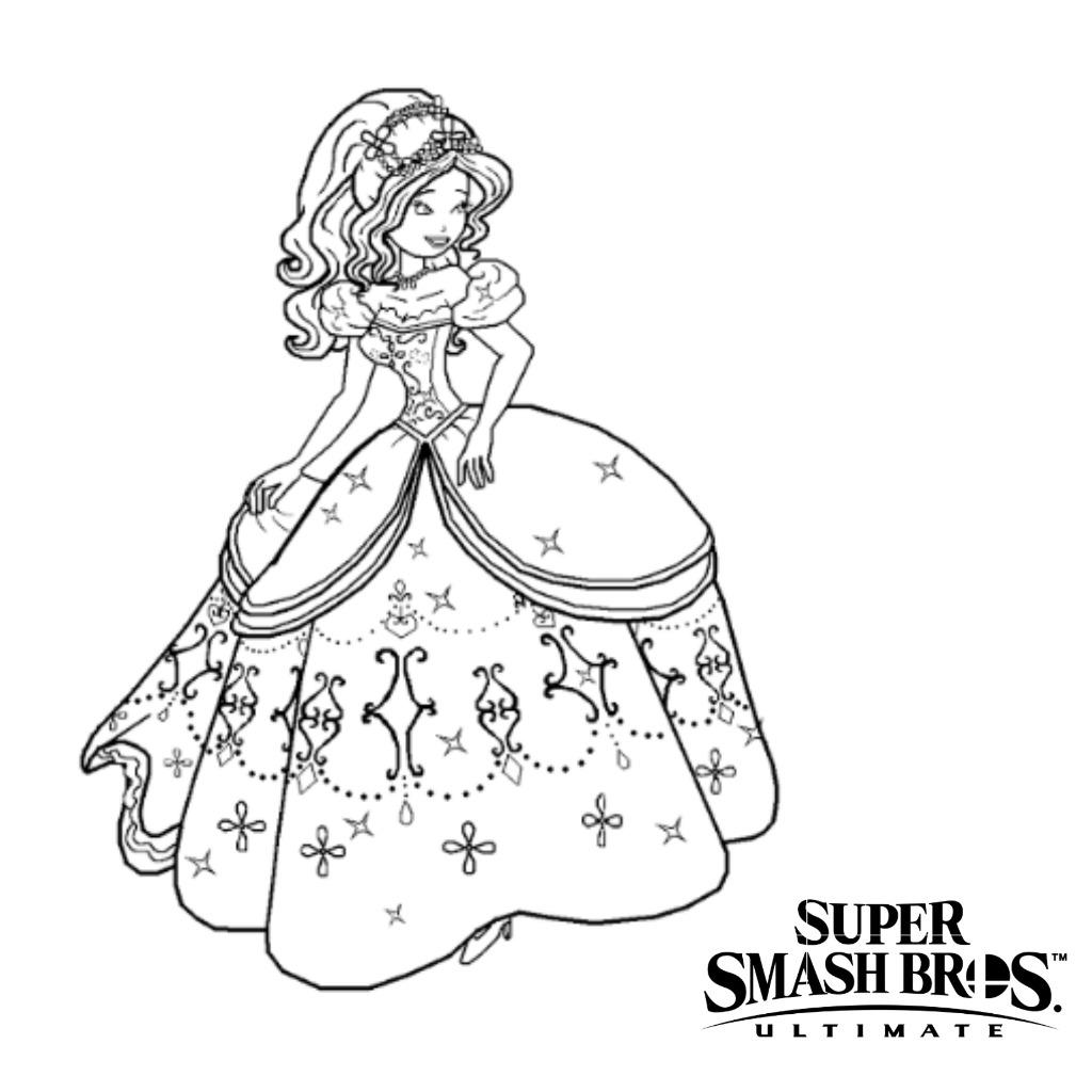 Viveca Coloring Pages Princess Toadstool Super Smash Bros Smash Bros